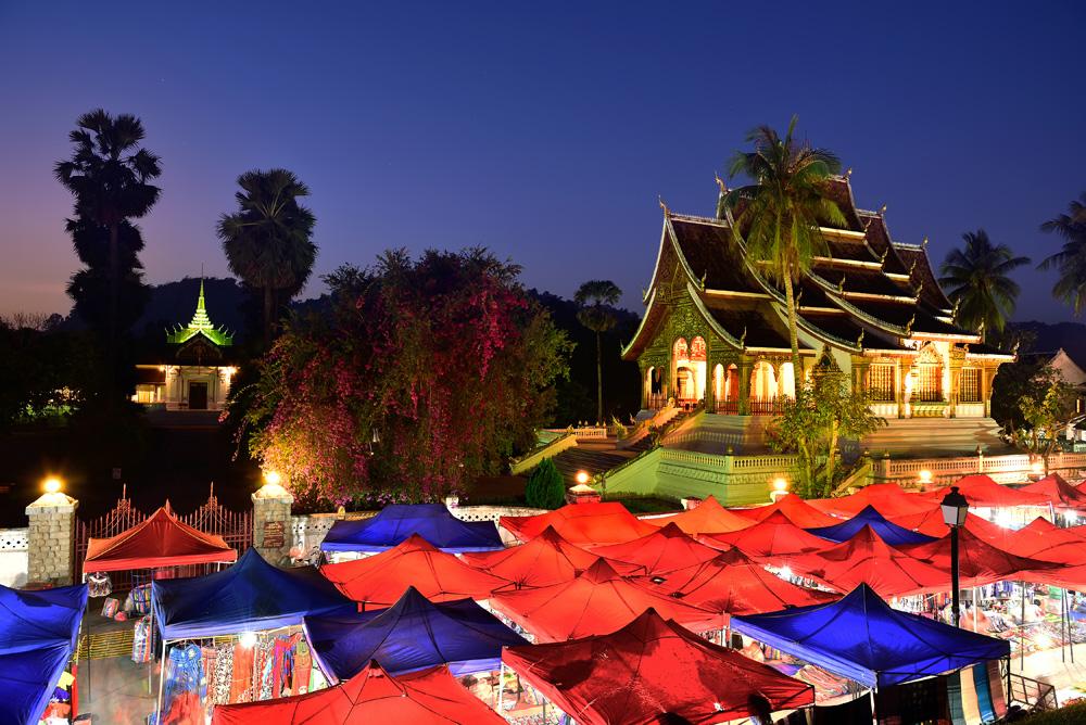 Night souvenir market in front of National Museum of Luang Prabang, Laos