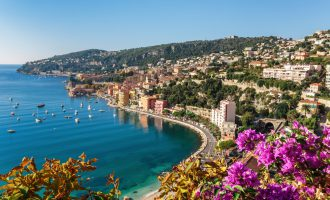 Panoramic view of Cote d'Azur near the town of Villefranche-sur-Mer, France