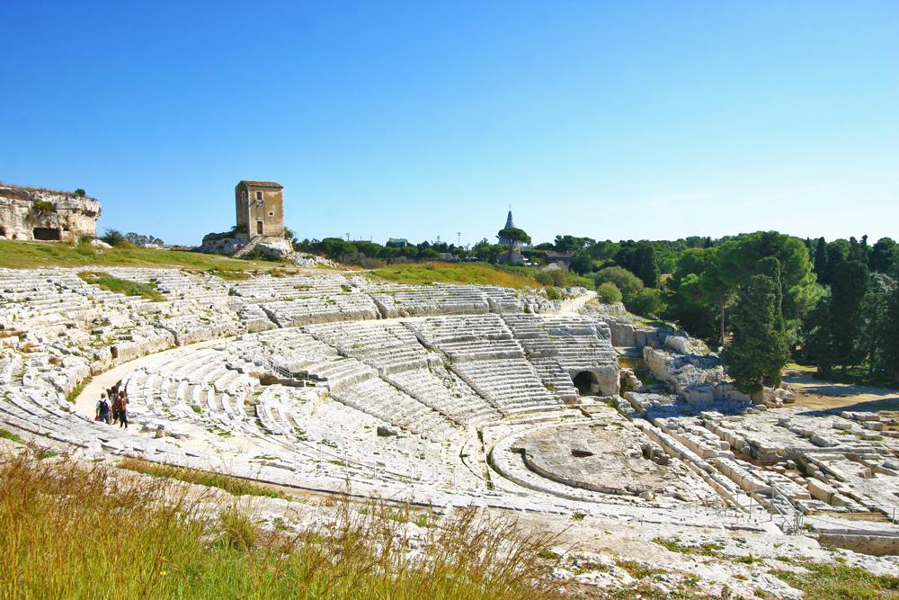 Panoramic view of the ancient Greek theatre (Teatro Greco) of Syracuse, Sicily, Italy