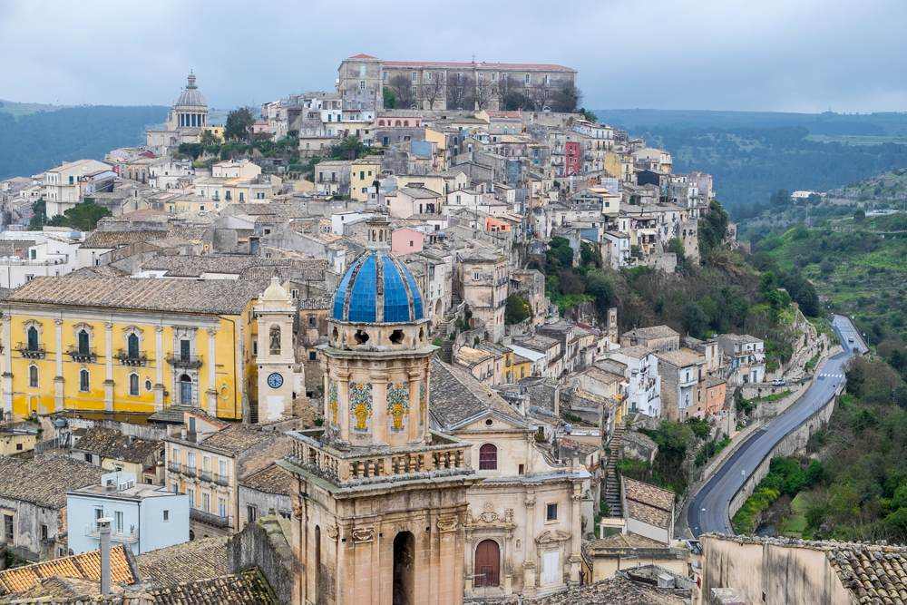 Panoramic view of the village of Ragusa, Sicily, Italy