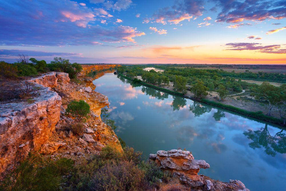 Sun setting over the Murray River, Australia