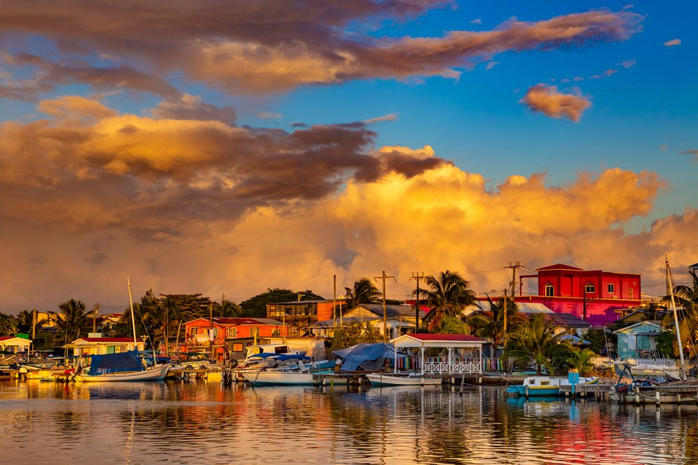 Sunset in town of San Pedro, Ambergris Caye Island, Belize