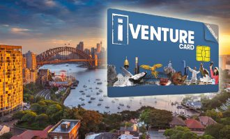 Sydney skyline with Harbour Bridge during sunset and iVenture card, Australia