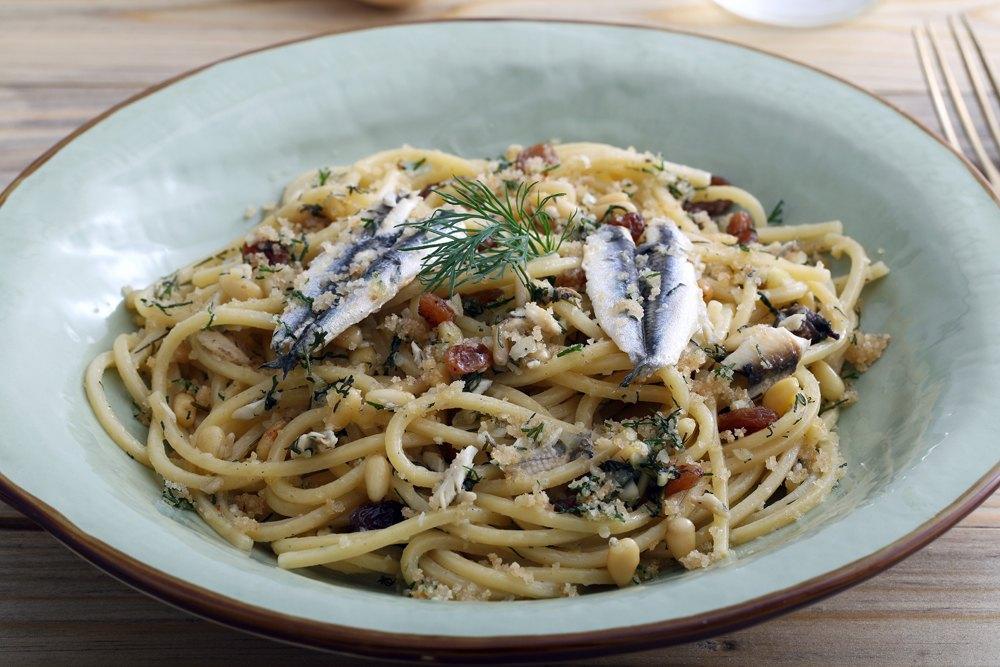 Traditional Sicilian pasta dish, pasta con le sarde, Sicily, Italy