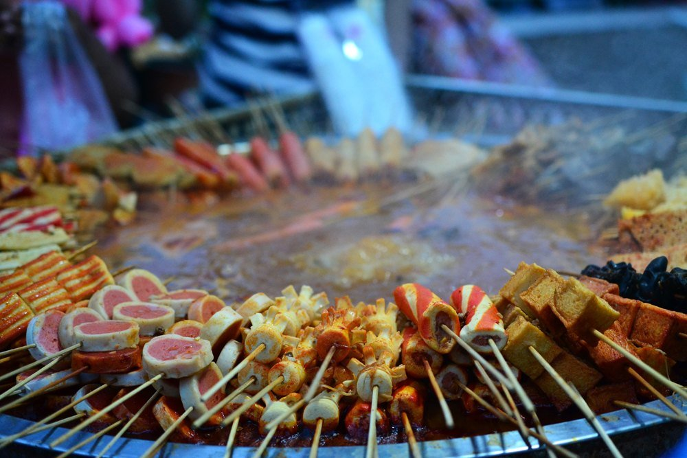 Uyghur delicacies at Kashgar Night Market, Xinjiang, China
