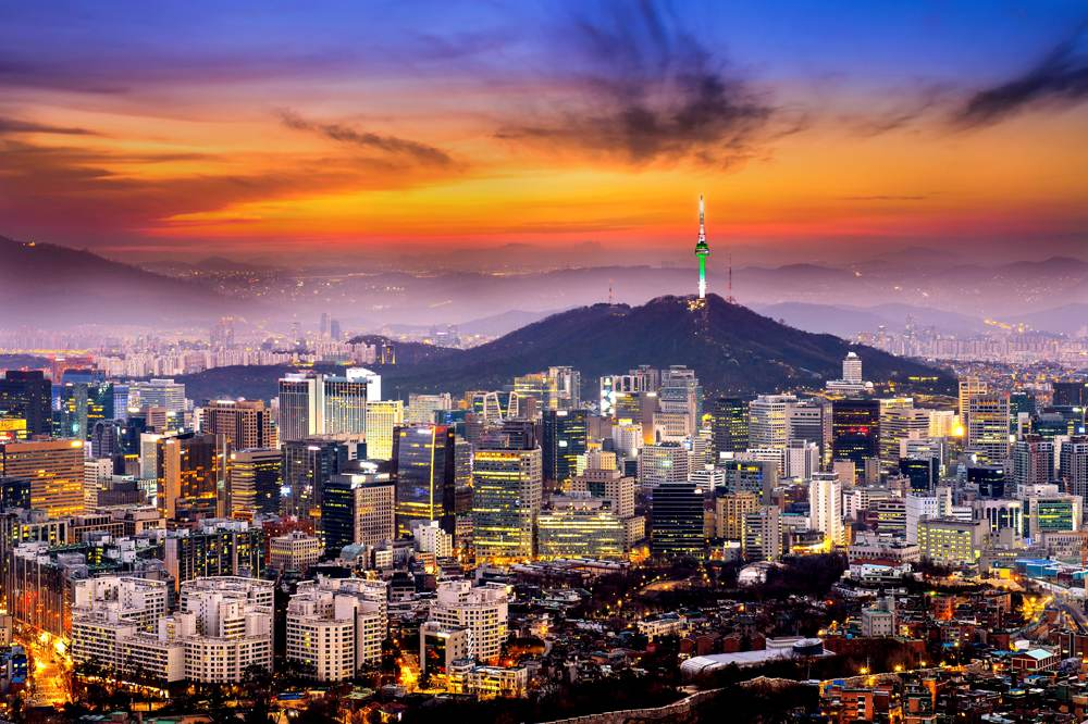 View of downtown cityscape and Seoul tower in Seoul, South Korea