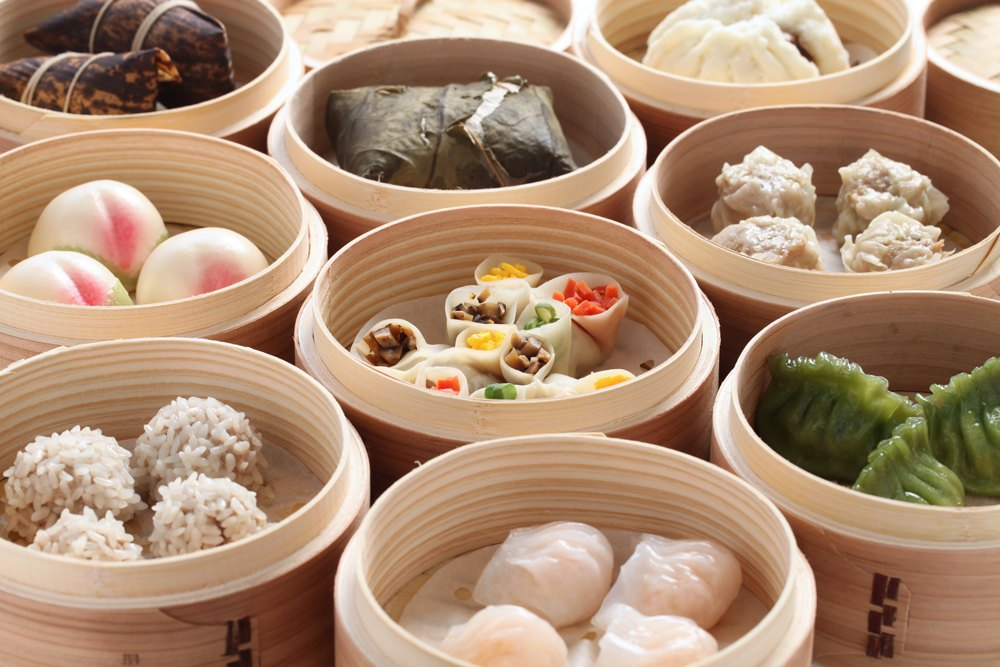 Yumcha and dim sum in bamboo steamer, China
