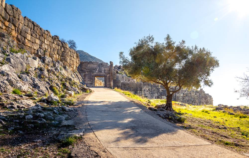 Archaeological site of Mycenae with the famous Lions Gate, Peloponnese, Greece