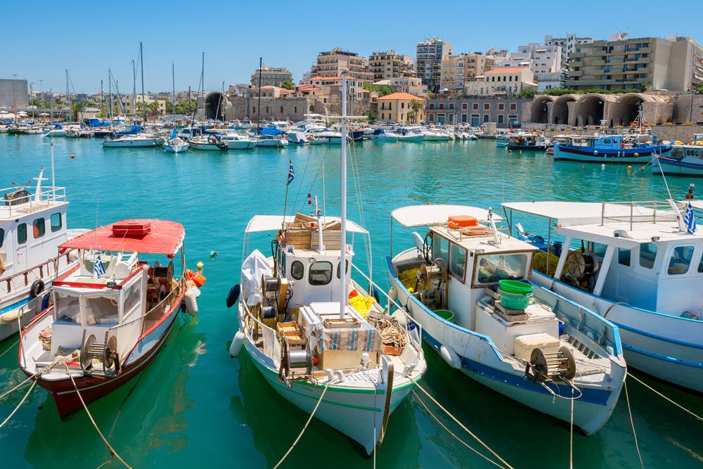 Boats in the old port of Heraklion, Crete, Greece