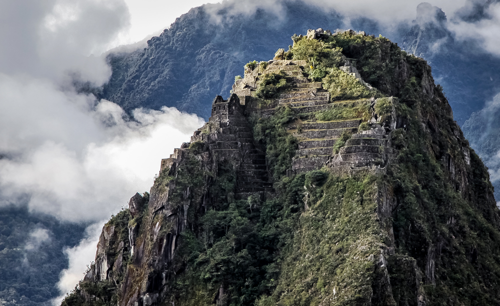 Close up view of top of Huayna Picchu with terraces, Machu Picchu, Peru