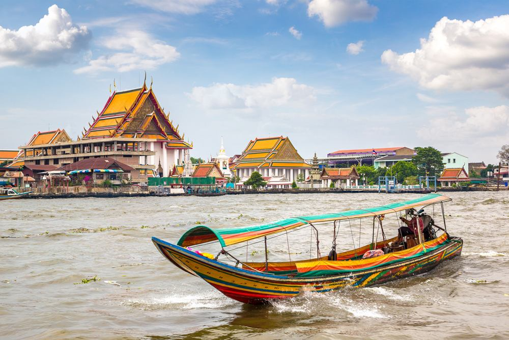 Long tail boat in Chao Phraya River in Bangkok, Thailand