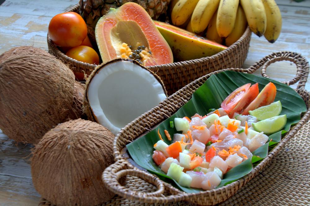 Traditional Tahitian tuna salad, Tahiti (French Polynesia)