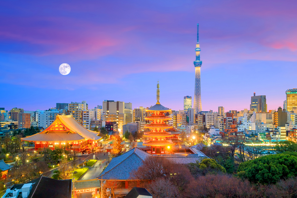 View of Tokyo skyline with Senso-ji Temple and Tokyo Skytree at twilight, Japan