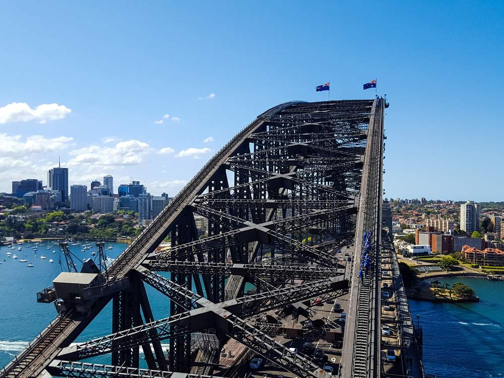 View of the top of Harbour Bridge, Sydney, Australia