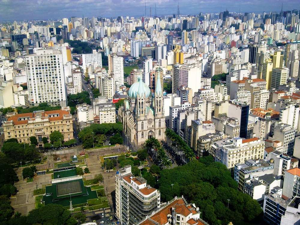 Aerial view of Se Cathedral and surrounding area, Sao Paulo, Brazil