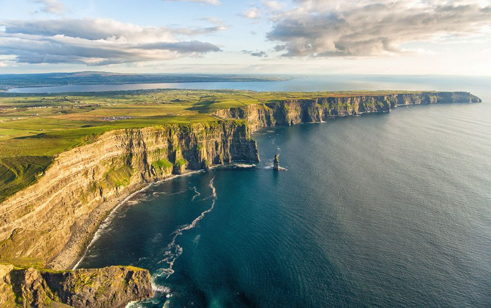 Aerial view of the Cliffs of Moher in County Clare, Ireland