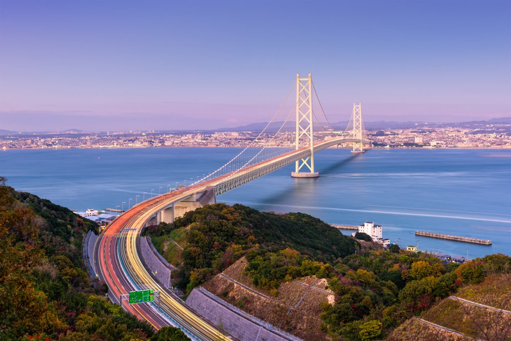 Akashi Kaikyo Bridge spanning the Seto Inland Sea from Kobe, Hyogo, Japan