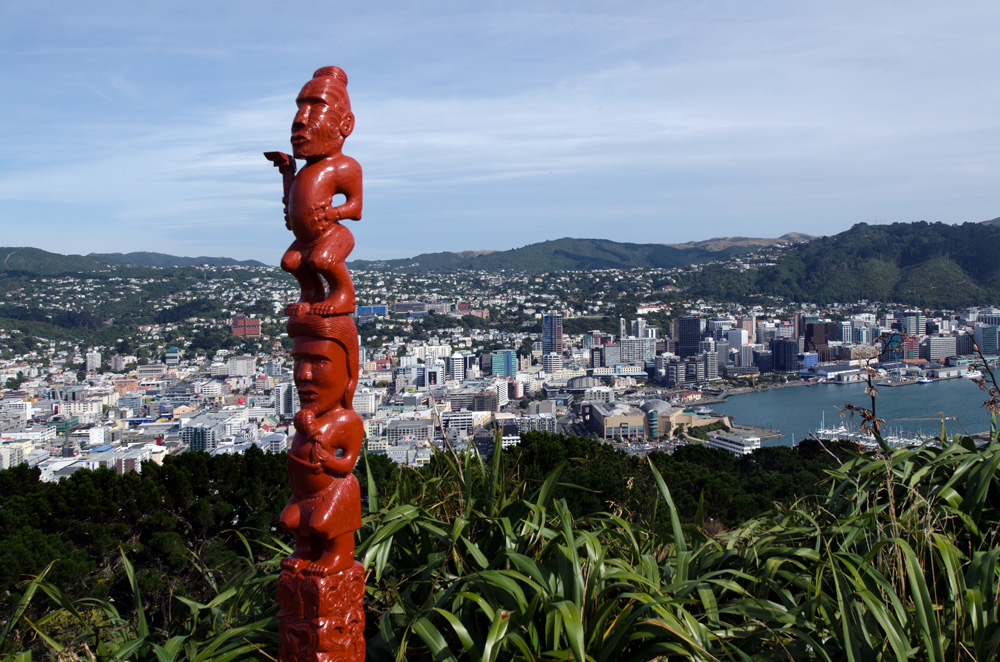 Ancient Maori sculpture on top of Mt Victoria in Wellington, New Zealand