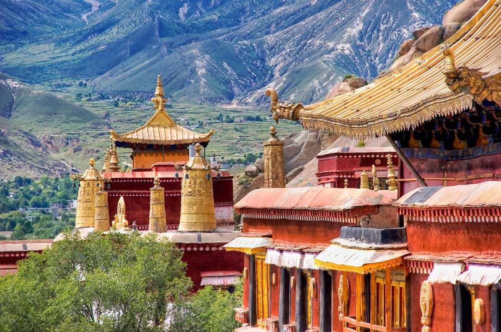 Ancient temples of Sera Monastery near Lhasa, Tibet