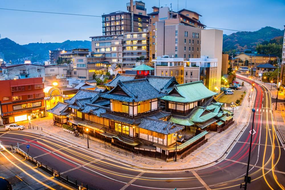 Dogo Onsen and downtown Matsuyama skyline, Ehime, Japan