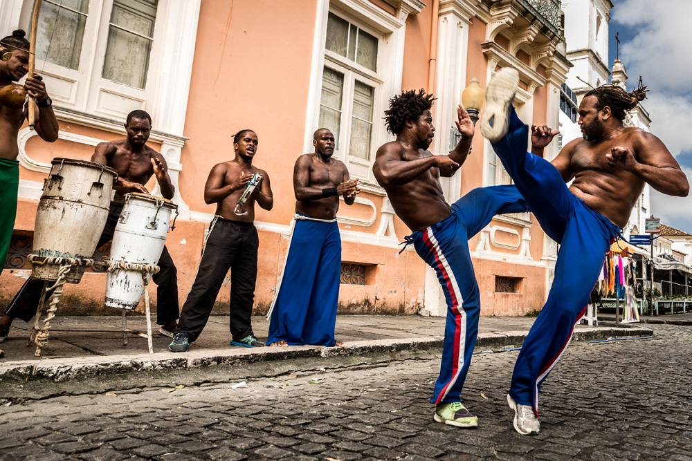 Group of people performing Capoeira in Salvador, Brazil