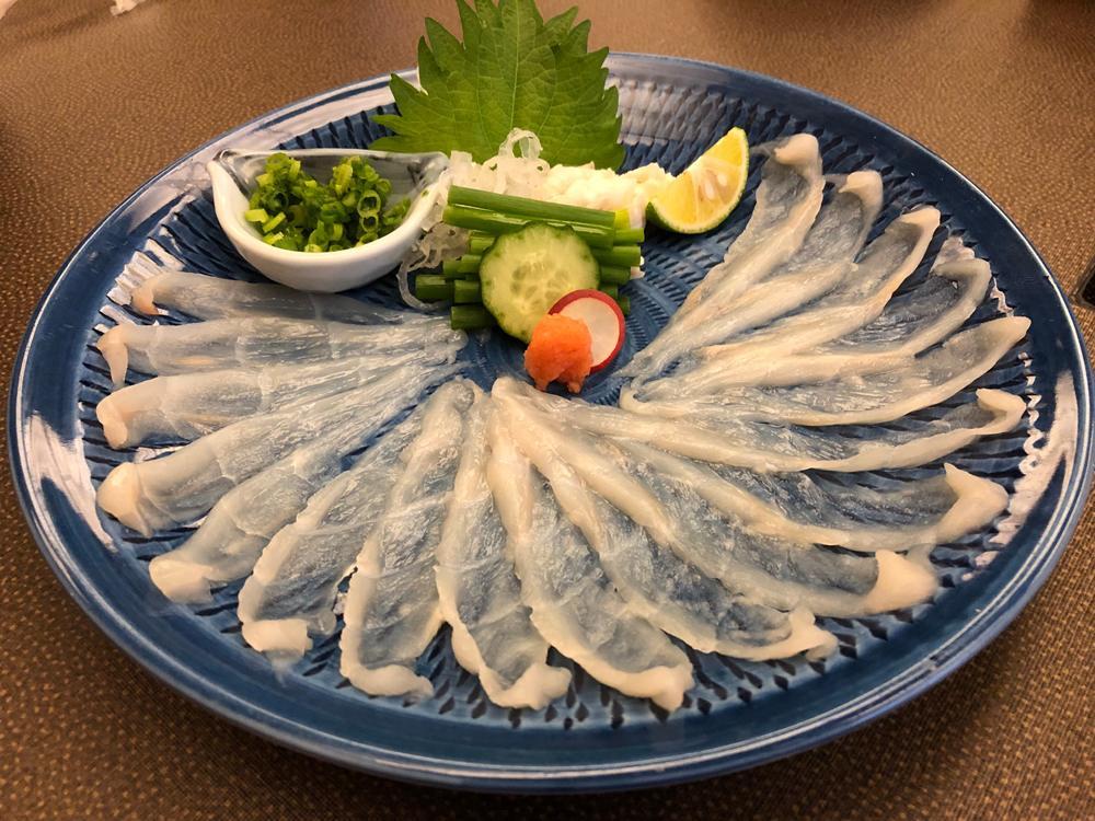 Japanese fugu pufferfish sashimi, Yamaguchi, Japan