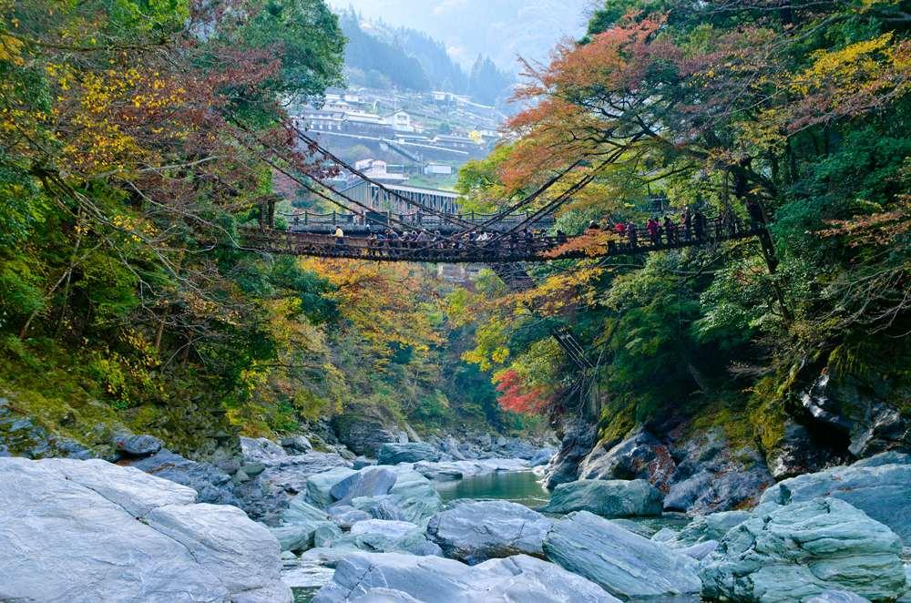 Kazurabashi suspension bridge in Iya Valley, Tokushima, Shikoku Island, Japan