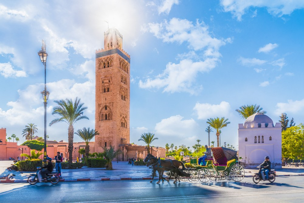 Koutoubia Mosque minaret located in the medina quarter of Marrakech, Morocco