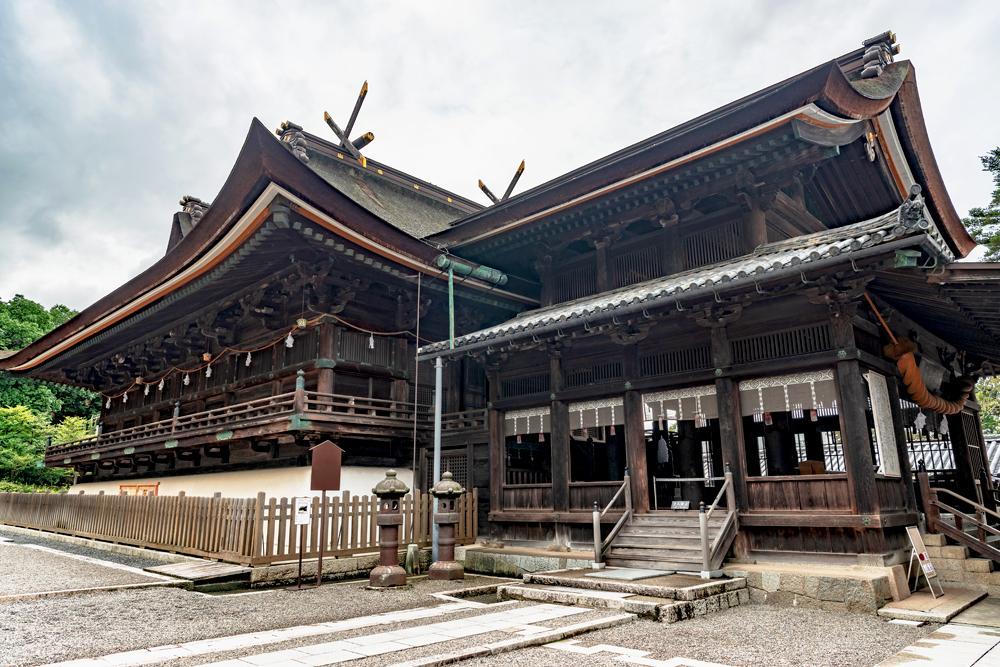 Main hall of Kibitsu Jinja Shrine in Okayama, Japan