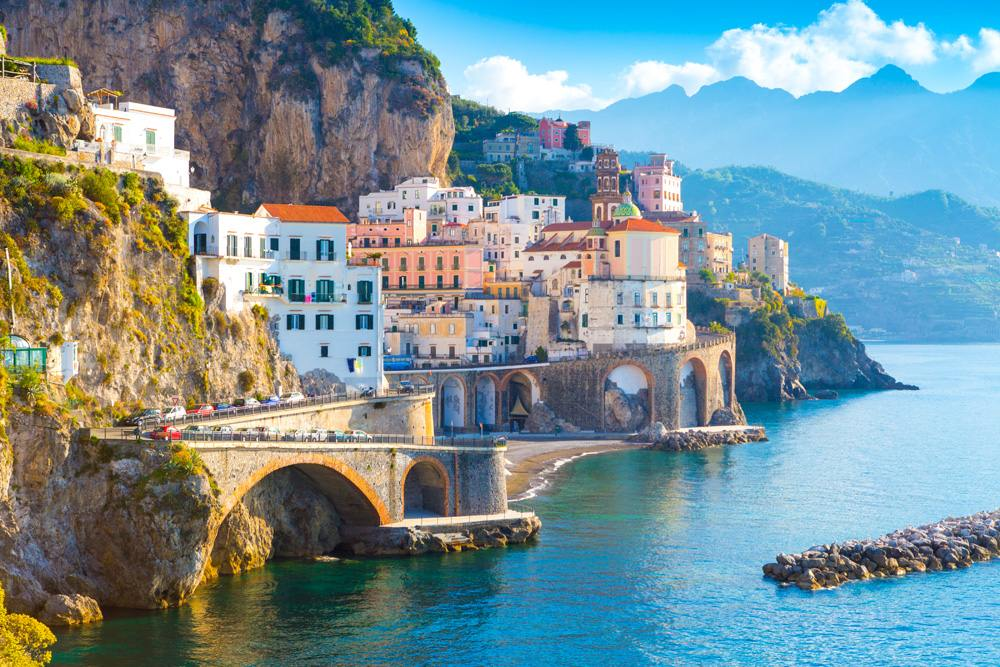 Morning view of Amalfi cityscape along the coastline of the Mediterranean Sea, Italy