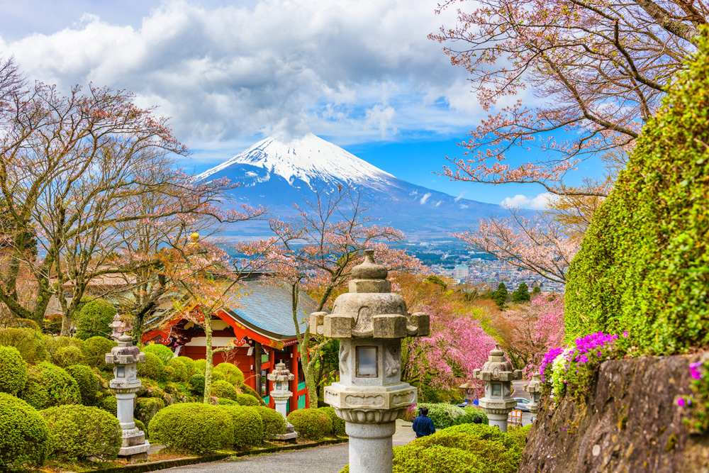 Peace Park with Mount Fuji in spring season, Gotemba City, Japan