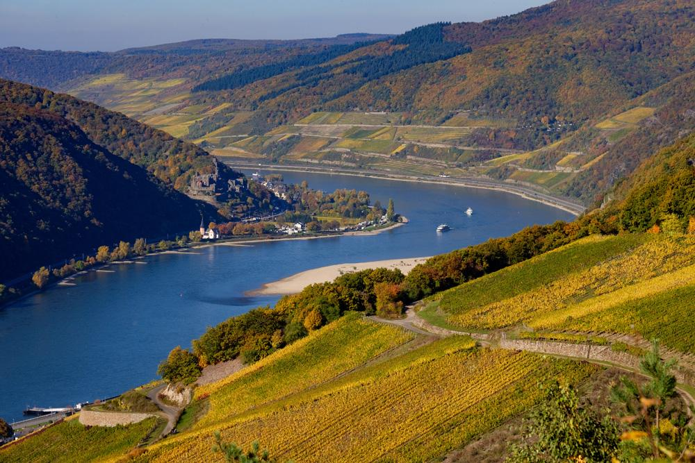 Rhine river near Assmanshausen in autumn, Germany