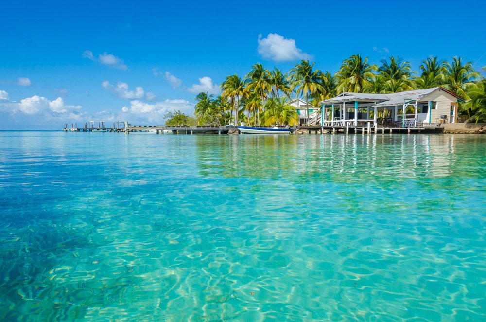 Small tropical island at Belize Barrier Reef, Belize