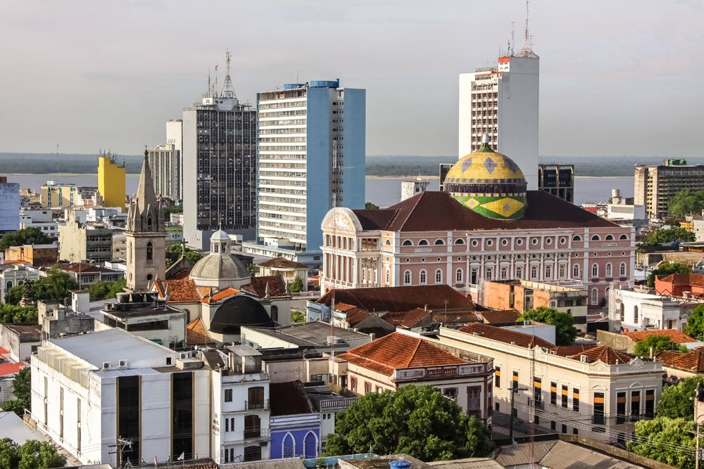 View of Manaus and Teatro Amazonas, Brazil
