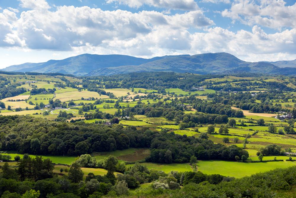 View of countryside in the Lake District near Hawkshead, England, UK (United Kingdom)