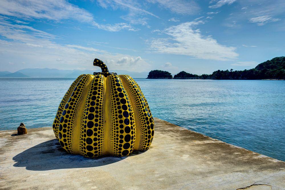 Yayoi Kusama's giant pumpkin sculpture in Naoshima on Naoshima Art Island, Kagawa, Japan