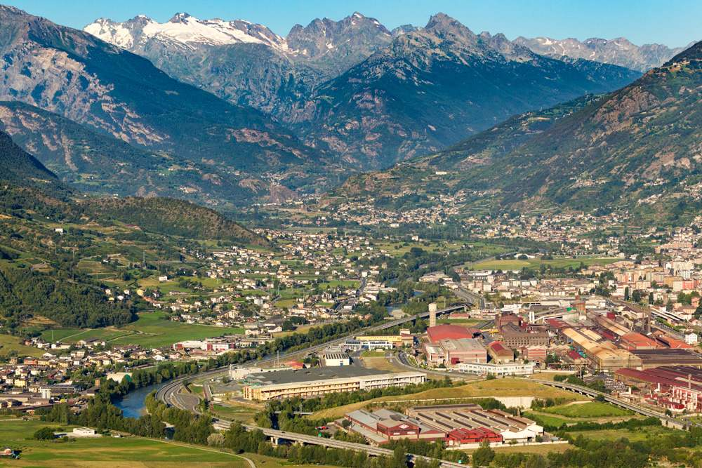 Aerial view of Aosta, Valle d'Aosta, Italy