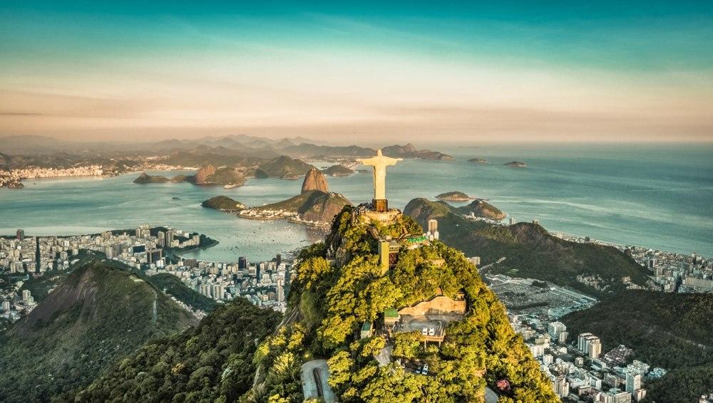 Aerial view of Botafogo Bay and Corvocado Mountain, Rio De Janeiro, Brazil