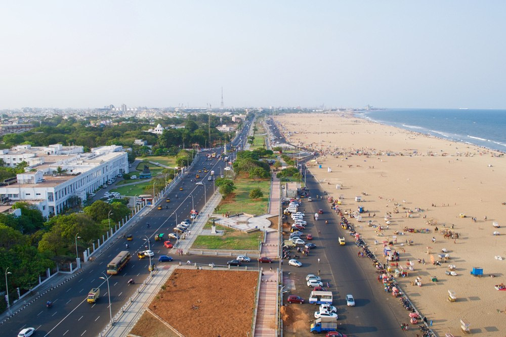 Aerial view of Kamarajar Promenade and Marina Beach from Marina Lighthouse in Chennai, India