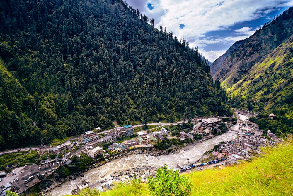 Aerial view of Kullu Valley in Naggar, Himachal Pradesh. India