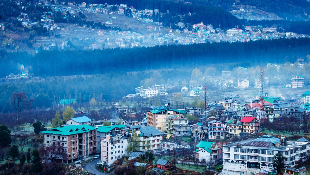 Aerial view of Manali city, India