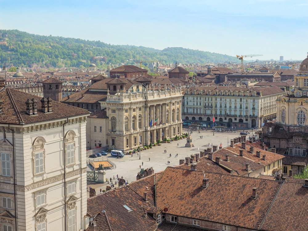 Aerial view of Piazza Castello central Baroque square in Turin, Italy