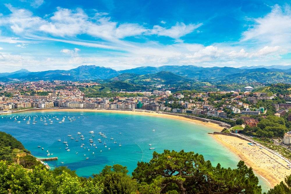 Aerial view of San Sebastian on a beautiful summer day, Spain