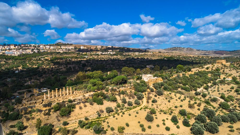 Aerial view of Valley of the Temples in Agrigento, Sicily, Italy