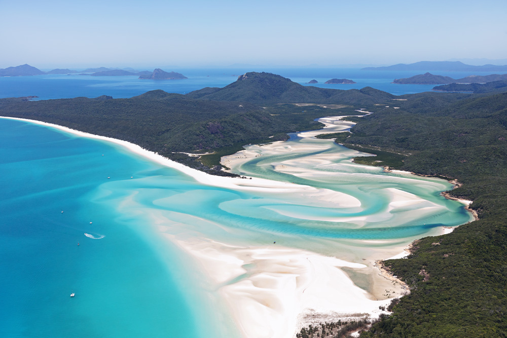 Aerial view of Whitehaven Beach, Whitsundays, Queensland, Australia
