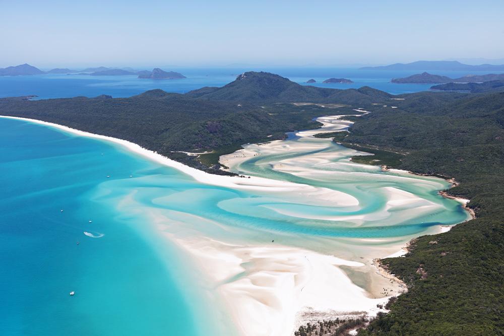 Aerial view of Whitehaven Beach, Whitsundays, Queensland, Australia