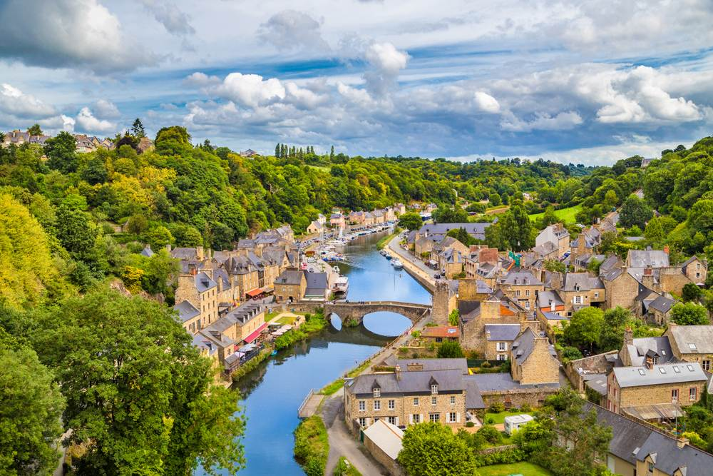 Aerial view of the historic town of Dinan with Rance River, Brittany, France