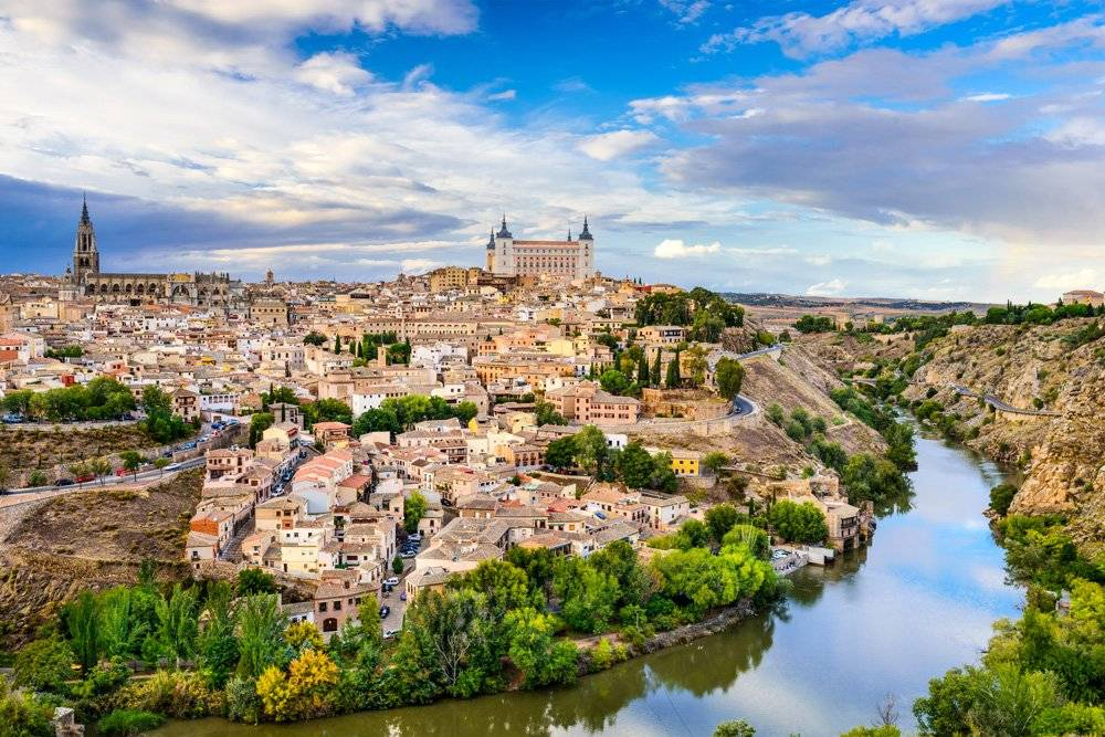 Aerial view of the old town, Toledo, Spain