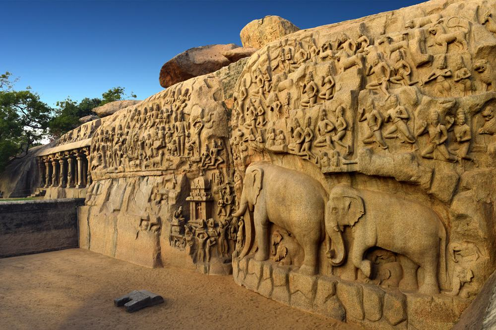 Arjuna's Penance, a large rock relief carving in Mahabalipuram, Tamil Nadu, India