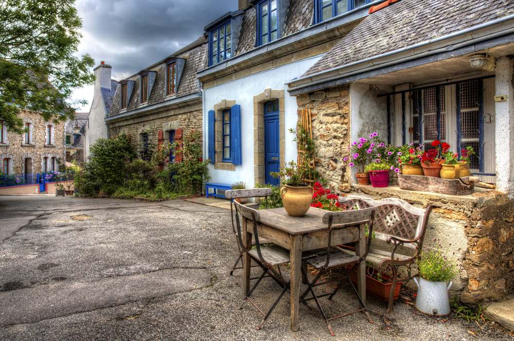 Charming street in Ville Close, Concarneau, Brittany, France